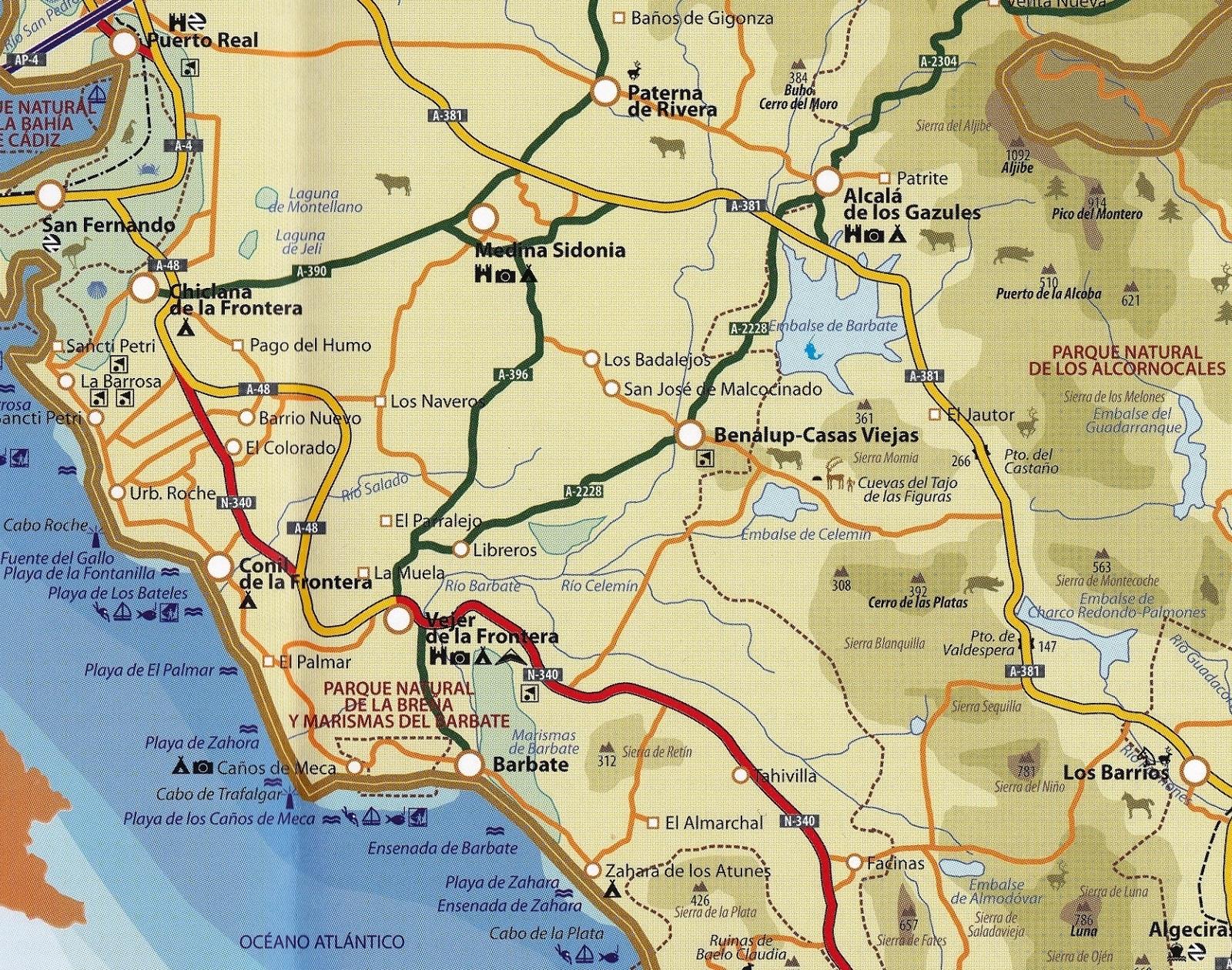Mapa de la Janda y Cabo Trafalgar